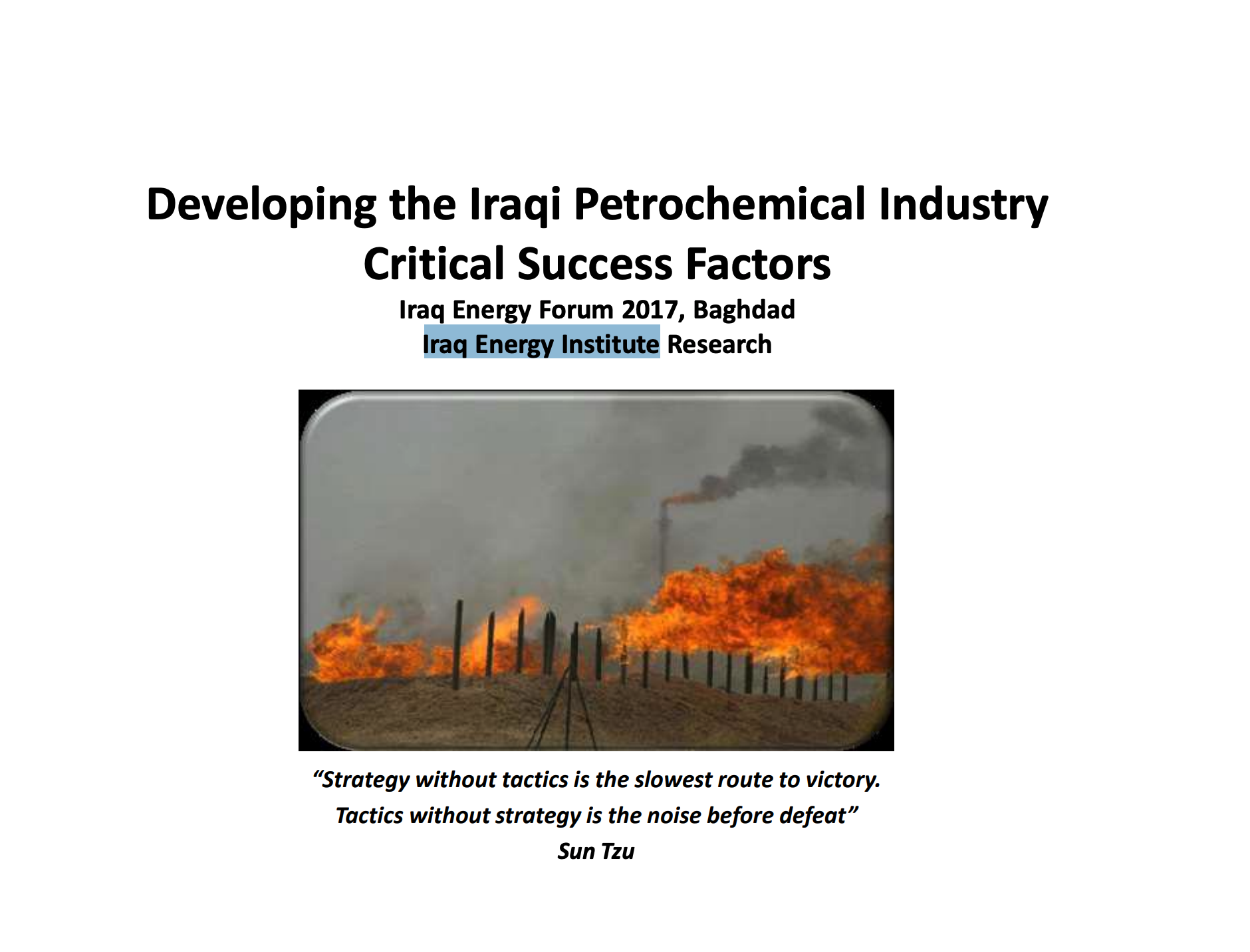 Developing the Iraqi Petrochemical Industry Critical Success Factors