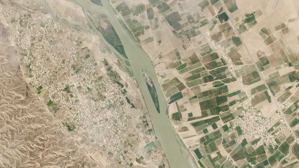 Satellite images taken by Planet Labs on April 23, 2021 showing two areas along the Tigris river that will be affected by the rising water once, and if, the Makhool dam is constructed and completed.